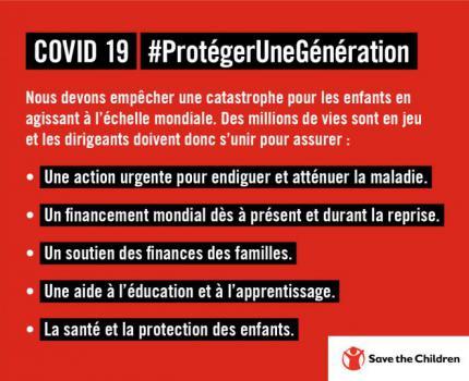 Protéger une génération contre le COVID-19 : un programme d'action de Save the Children